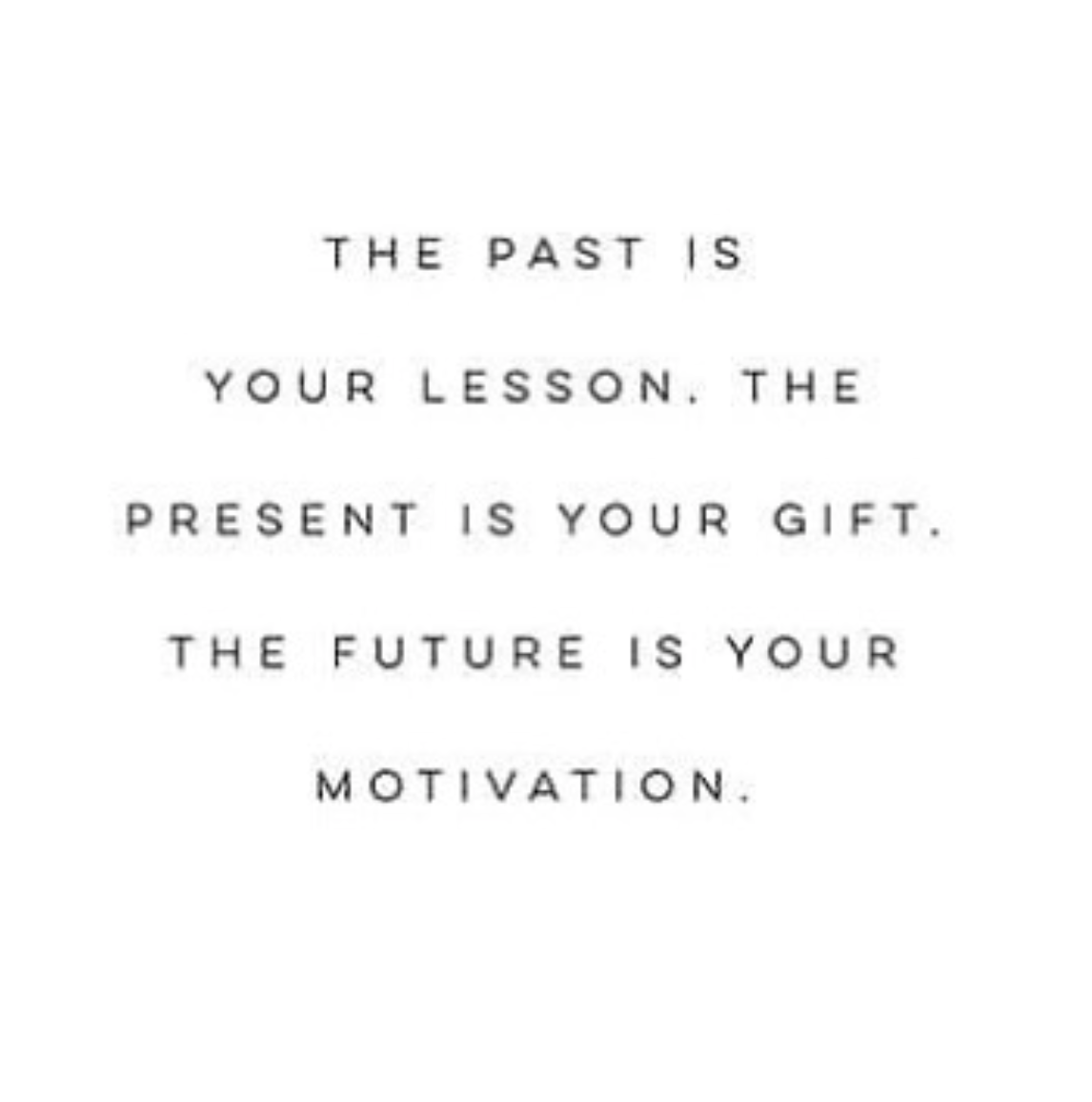 [Image] The past is your lesson. The present is your gift. The future is your motivation.