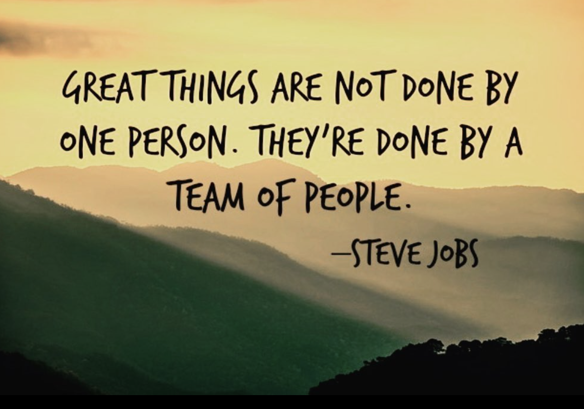 [Image] Great things are not done by one person. They're done by a team of people.