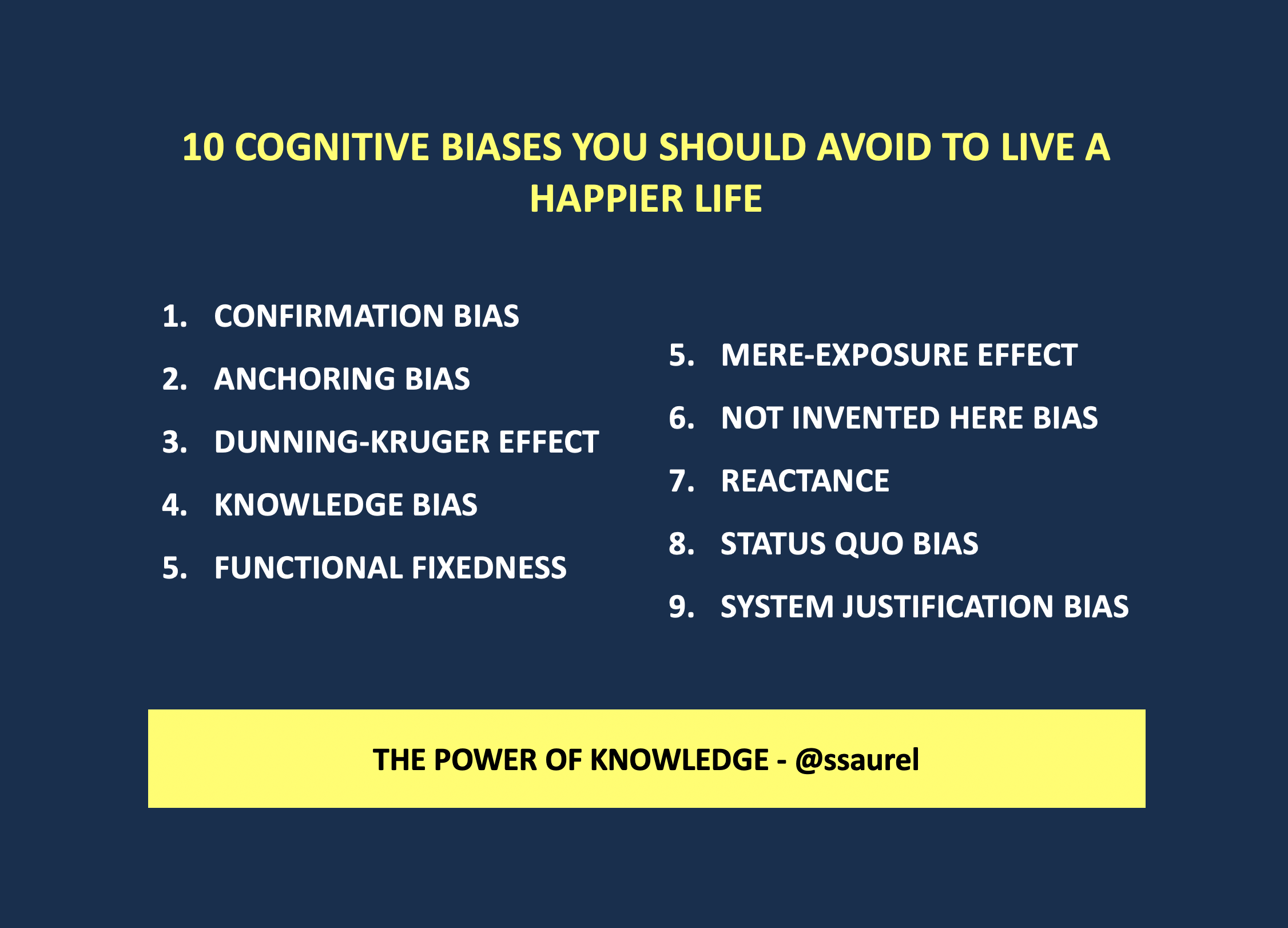 [Image] 10 Cognitive biases you should avoid to live a happier life