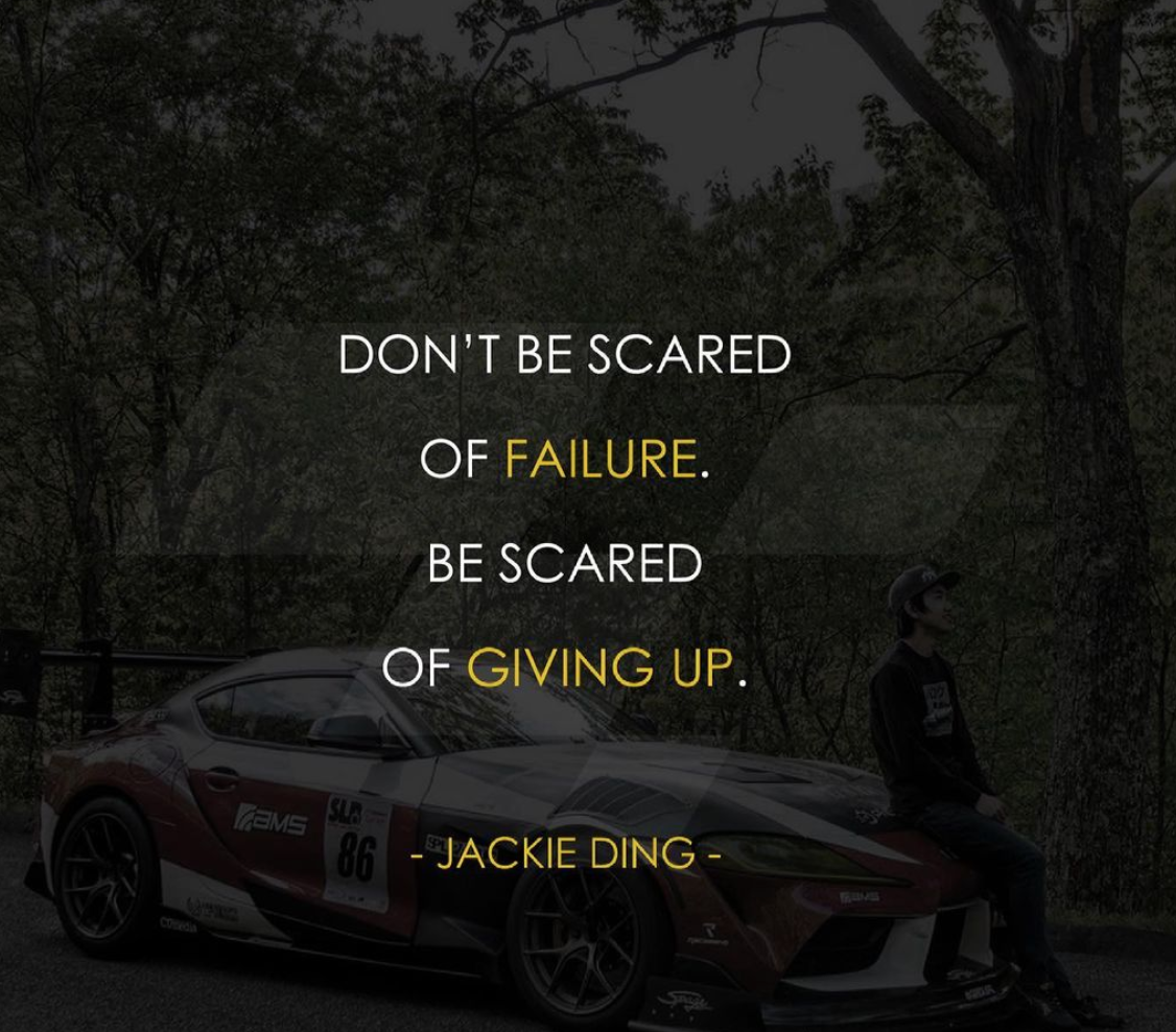 [Image] Don't be scared of failure. Be scared of giving up.