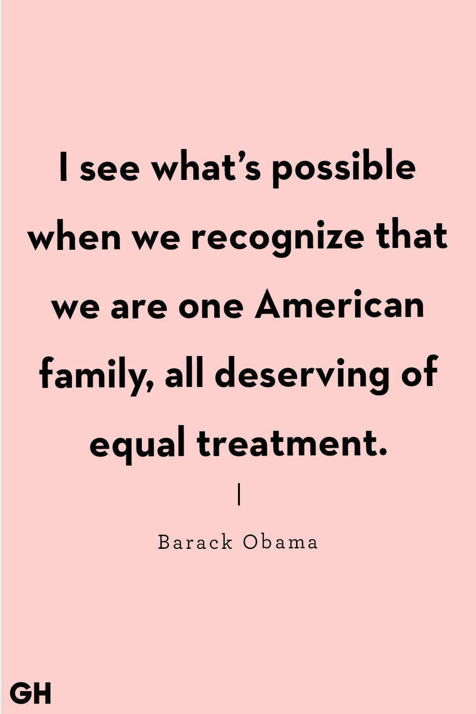 I see what's possible when we recognize that we are one American family, all deserving of equal treatment. – Barack Obama [960 × 1440]