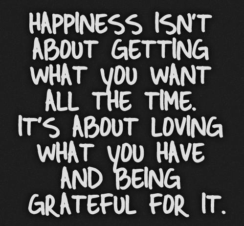 "[Image] ""Happiness isn't about getting what you want all the time. It's about loving what you have and being grateful for it."""