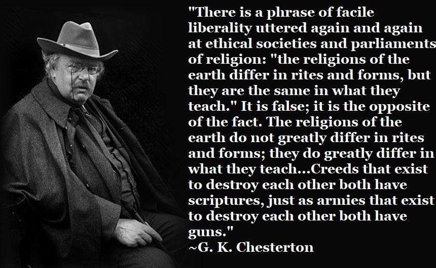 Creeds that exist to destroy each other both have scriptures, just as armies that exist to destroy each other both have guns. ~G. K. Chesterton [OC] [860 x 530]