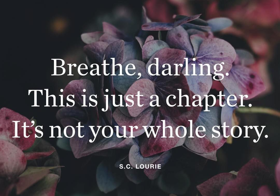 "[Image] ""Breathe, darling. This is just a chapter. It's not your whole story."" ~ S. C. Lourie"