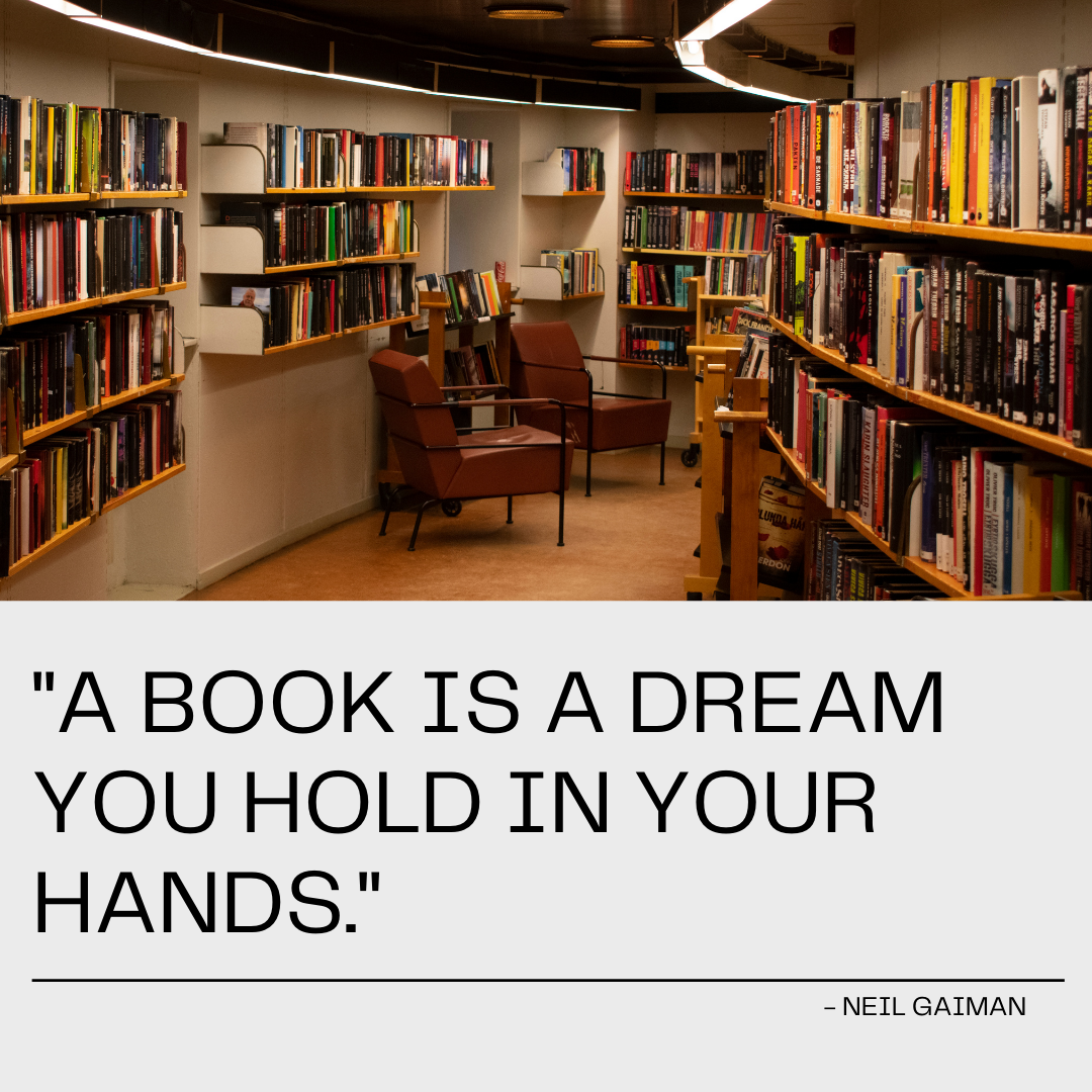"""""""A book is a dream you hold in your hands."""" – Neil Gaiman [1080×1080]"""
