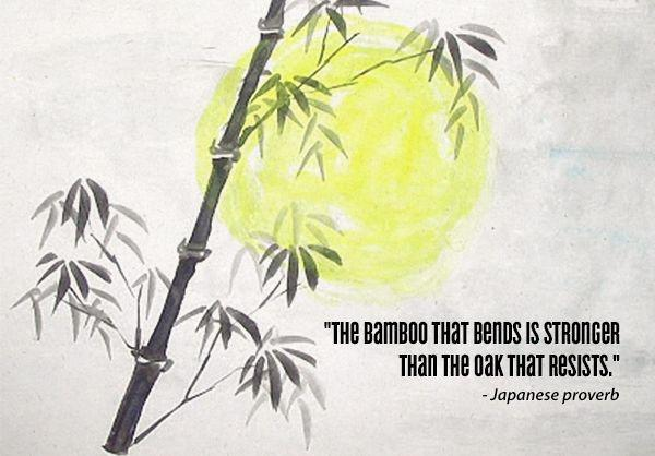 "[Image] ""The bamboo that bends is stronger than the oak that resists."" ~ Japanese proverb"