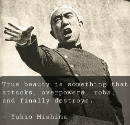"""True beauty is something that attacks, overpowers, robs, and finally destroys"" – Yukio Mishima (452×435)"