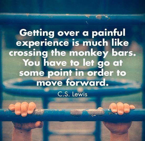 """Getting Over A Painful Experience Is Much Like Crossing The Monkey Bars. You Have To Let Go At Some Point In Order To Move Forward. ' * X. '- . ' L-— ,~ _ - ._'-'- 4- C. S Lewis """"TMWWM?ZMWK5;RW- . . G.""""- -e https://inspirational.ly"""