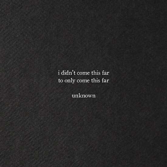 "[Image] ""I didn't come this far…"""