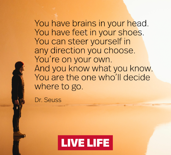 """You have brains in your head. You have feet in your shoes. You can steer yourself in any direction you choose. You're on your own. And you know what you know. You are the one who'll decide where to go. "" Theodor Seuss Geisel [1586X860]"
