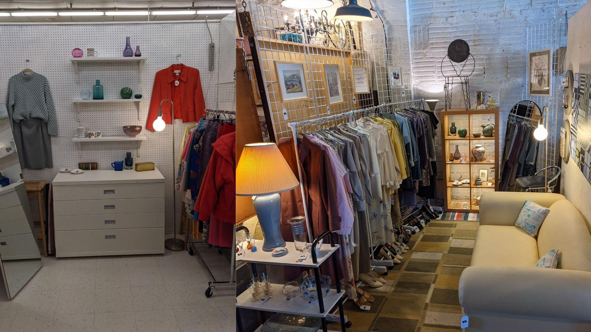 "[Image] Update: I posted in December my ""just start"" moment. Since I opened my first vintage booth, I've already moved into my dream location downtown and have been asked to be a vendor at a new boutique! Here is my 1st booth and my booth for my next upcoming event. Just start, everyone!"