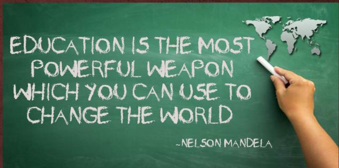 """Education is the most powerful weapon which you can use to change the world."" – Nelson Mandela [679×337]"