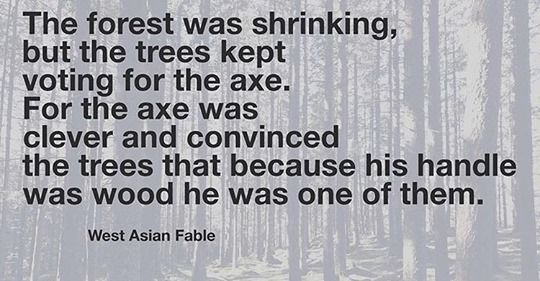 """The forest was shrinking, but the trees kept voting for the axe. For the axe was clever and convinced the trees that because of his handle was wood he was one of them."" – West Asian Fable [540×281"
