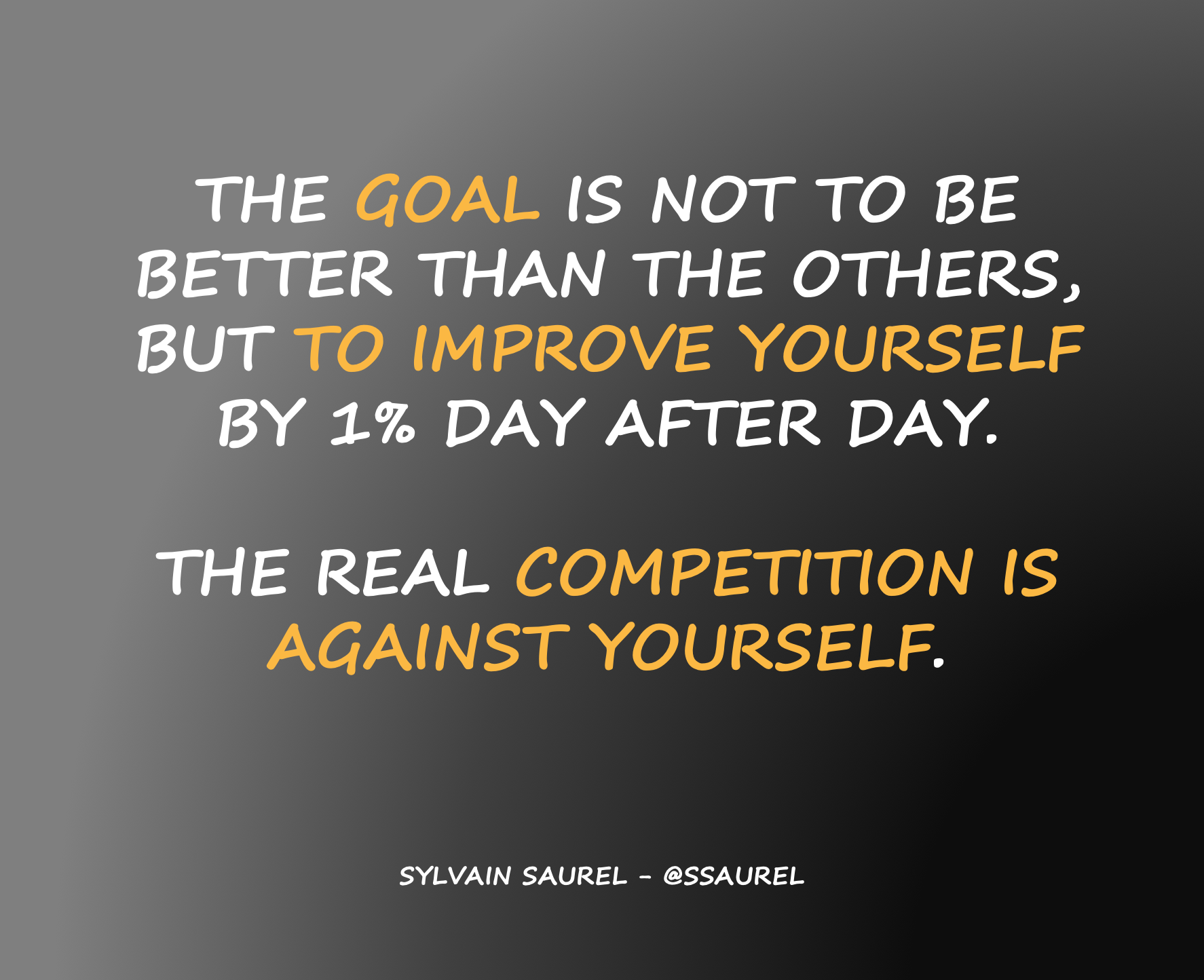 [Image] The goal is not to be better than the others but to improve yourself by 1% day after day. The real competition is against yourself.