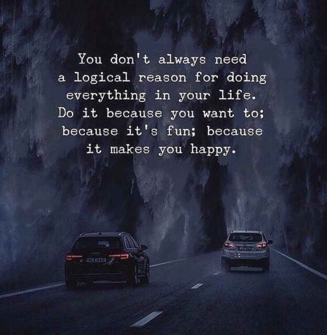 [Image] You don't always need a logical reason for doing everything in your life. Do it because you want to; because it's fun; because it makes you happy.
