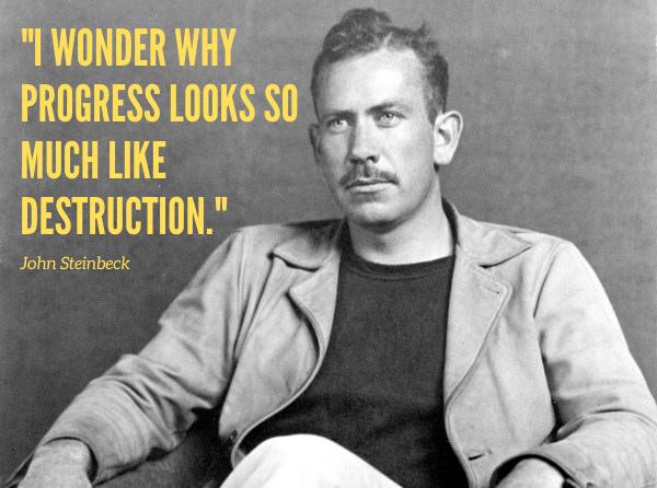 """I wonder why progress looks so much like destruction."" – John Steinbeck [600×466]"