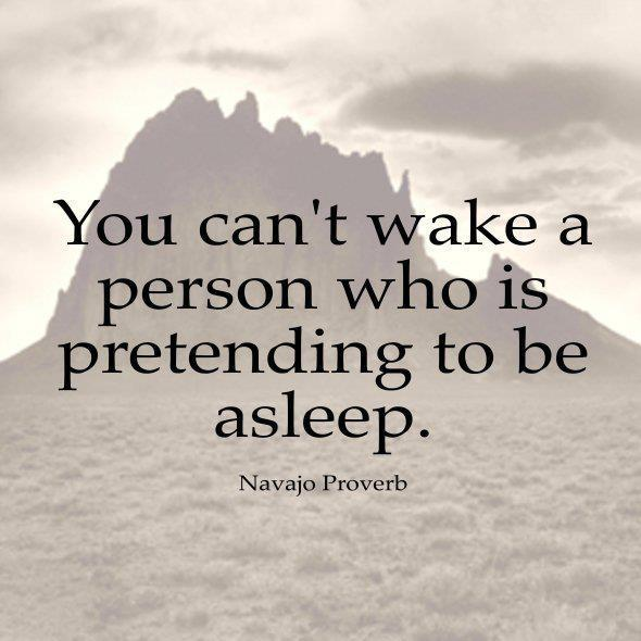 """You can't wake a person who is pretending to be asleep"" – Navajo Proverb [1080×369]"