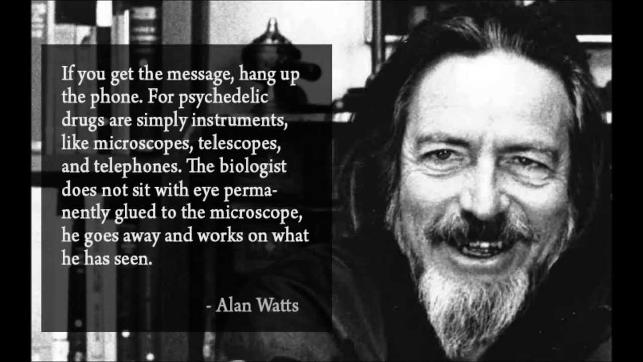 """If you get the message, hang up the phone. For psychedelic drugs are simply instruments like microscopes, telescopes and telephones. The biologist does not sit with eye permanently glued to the microscope, he goes away and works on what he has seen.""- Alan Watts [1280×720]"