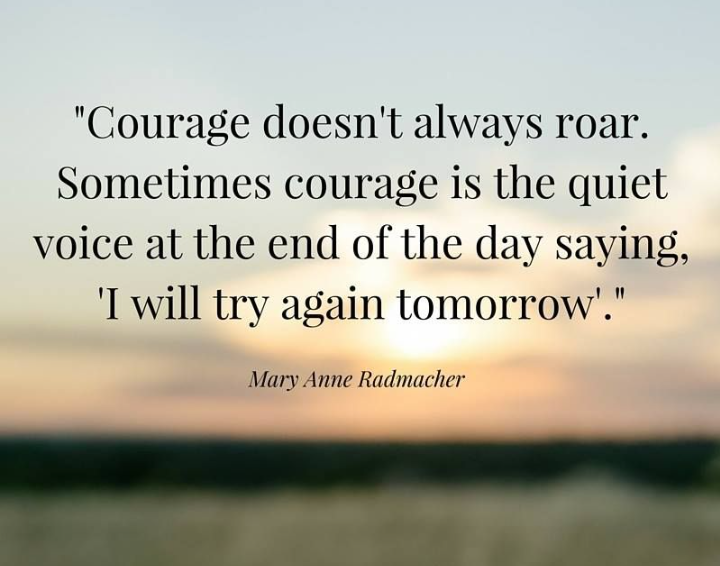 """Courage doesn't always roar."" – Mary Anne Radmacher [720×566]"