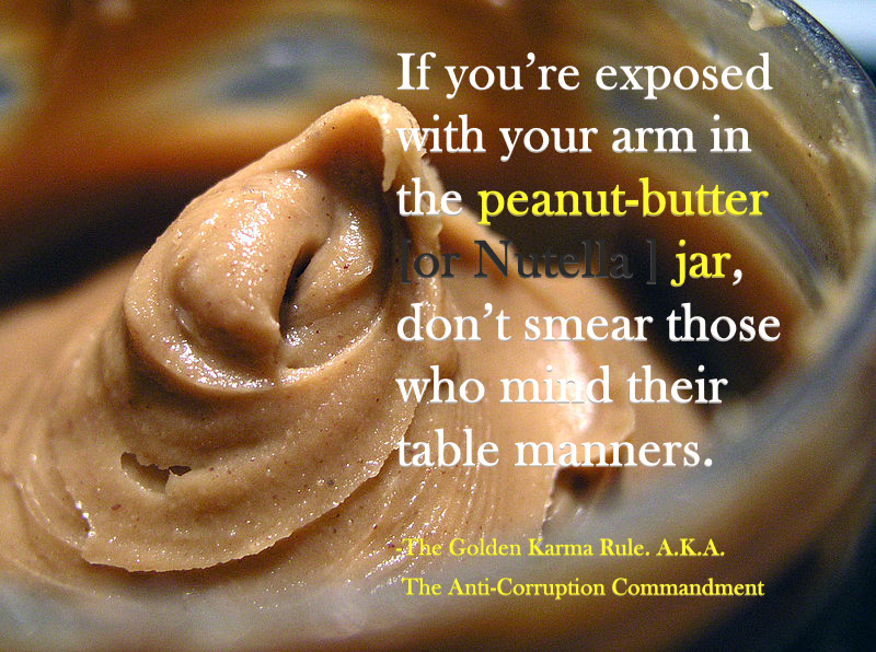 If you're exposed with your arm in the peanut-butter jar, don't smear those who mind their table manners. – Infamous Cat [800 x 596]