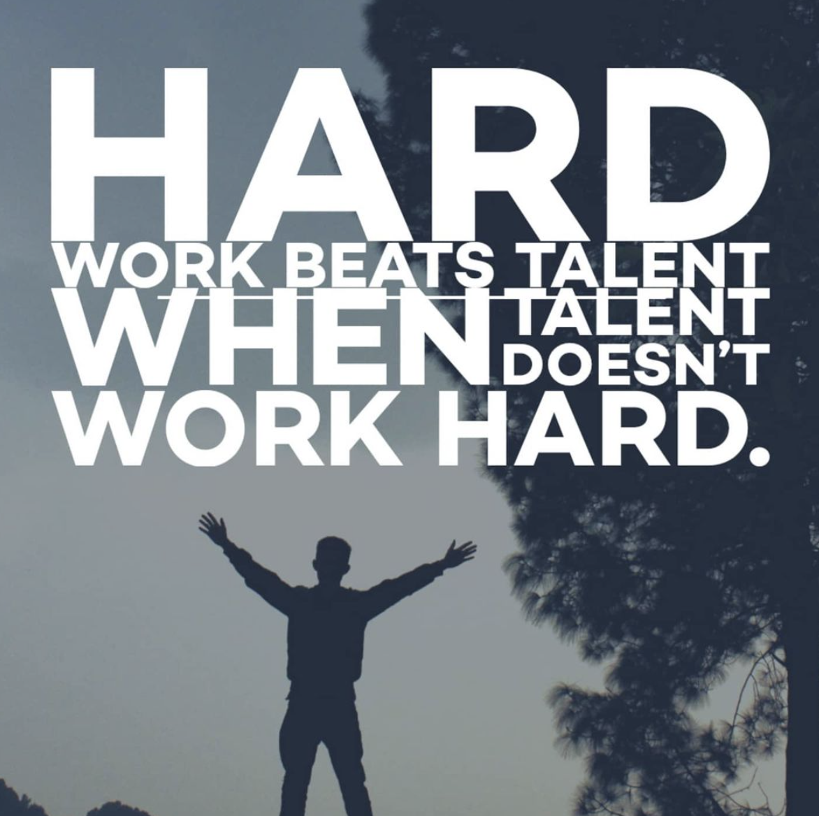 [Image] Hard work beats talent when talent doesn't work hard.