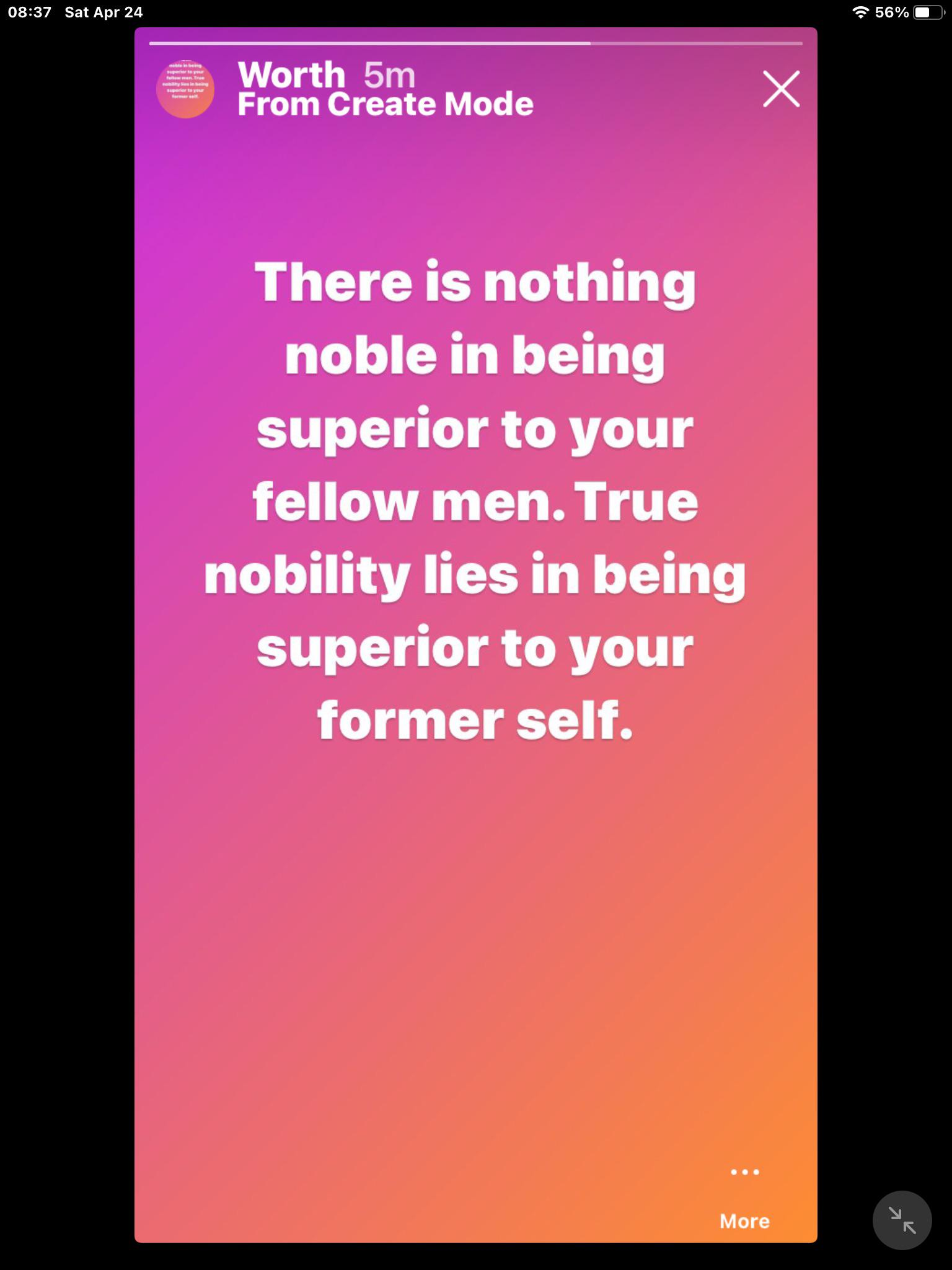 There is nothing noble in being superior to your fellow men. True nobility lies in being superior to your former self Hemmingway. [1080*1080]