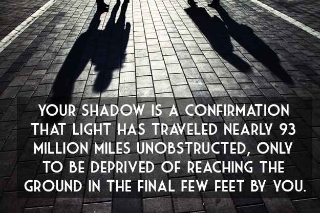 THAT LIGHT HAS TRAVELED NEARLY 93 MILLION MILES UNOBSTRUCTED, ONLY TO BE DERRIYED OF REACHING THE GROUND IN THE FINAL FEW FEET BY YOU. https://inspirational.ly