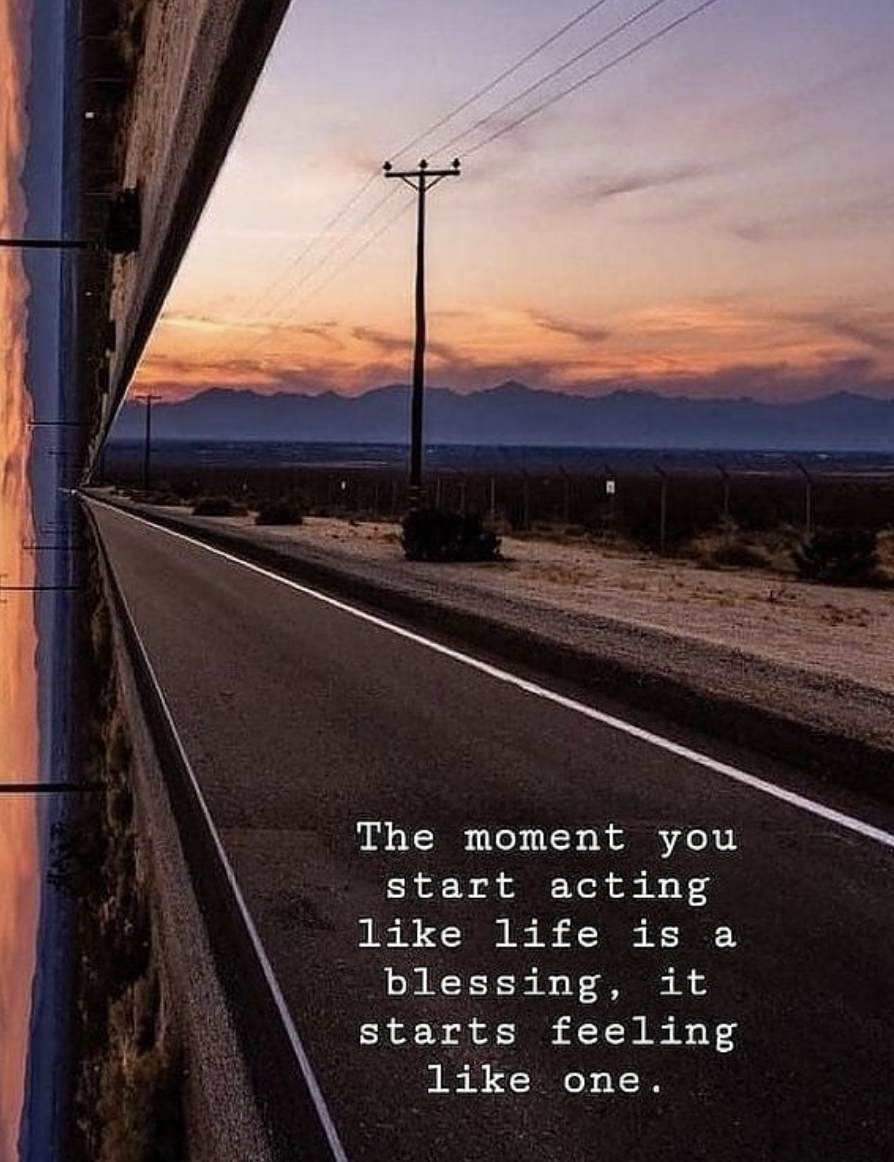 [Image] The moment your start acting like life is a blessing, it starts feeling like one.