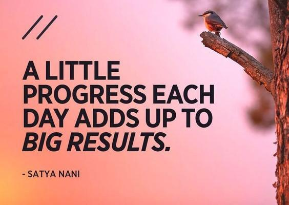 "[Image] ""A little progress each day adds up to big results."" ~ Satya Nani"