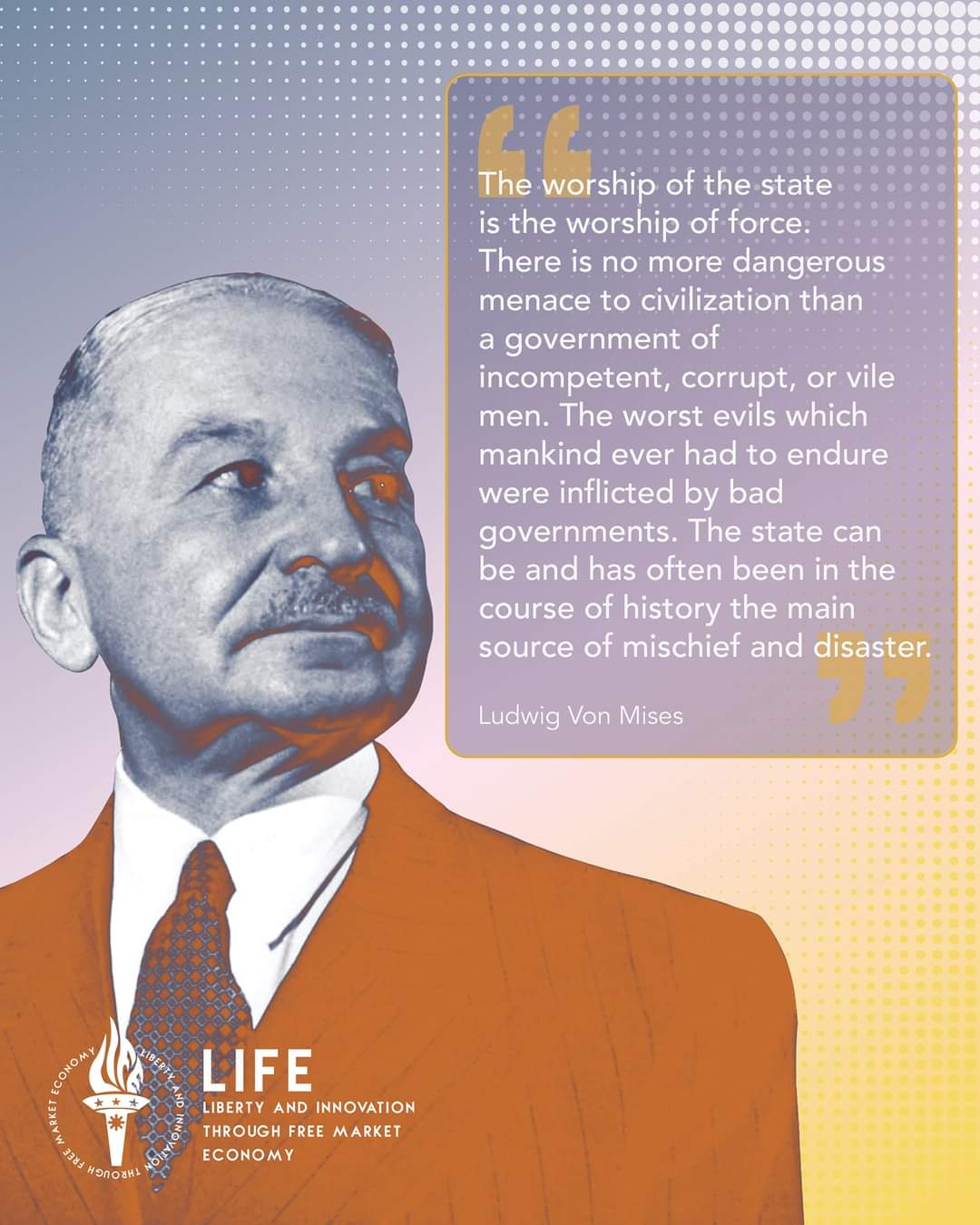 """The worship of the state is the worship of force…"" ~ Ludwig von Mises [1080×1350]"