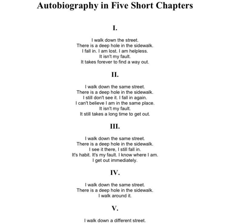 [Image] Autobiography in Five Short Chapters by Portia Nelson