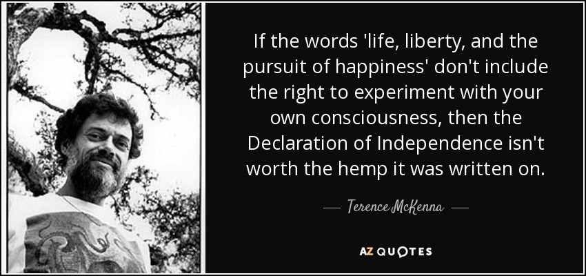 """If the words 'life, liberty and the pursuit of happiness' don't include the right to experiment with your own consciousness, then the Declaration of Independence isn't worth the hemp it was written on"" – Terrence McKenna [850*400]"
