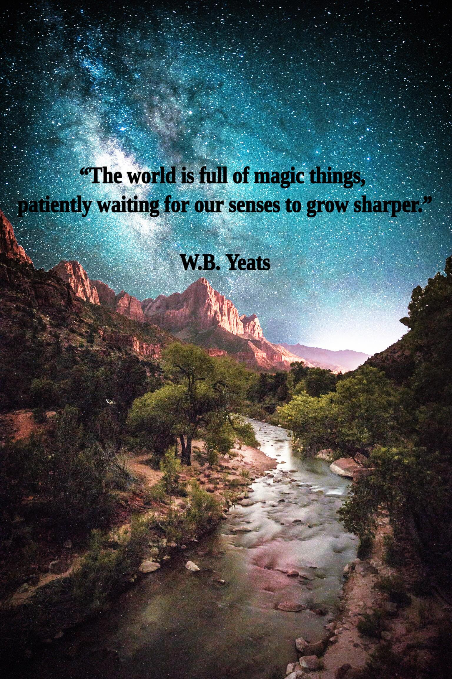 """""""The world is full of magic things, patiently waiting for our senses to grow sharper."""" – W.B. Yeats [1536×2304]"""