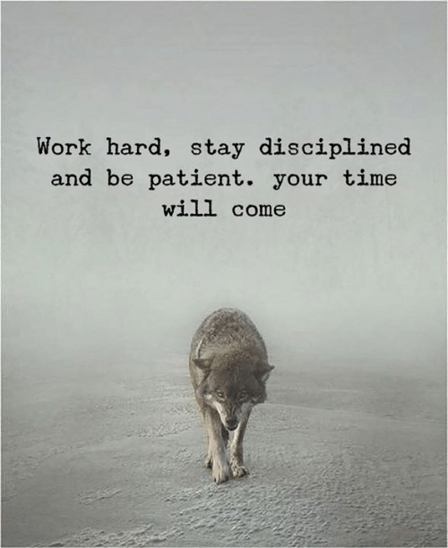 [Image] Work hard, stay disciplined and be patient. Your time will come.