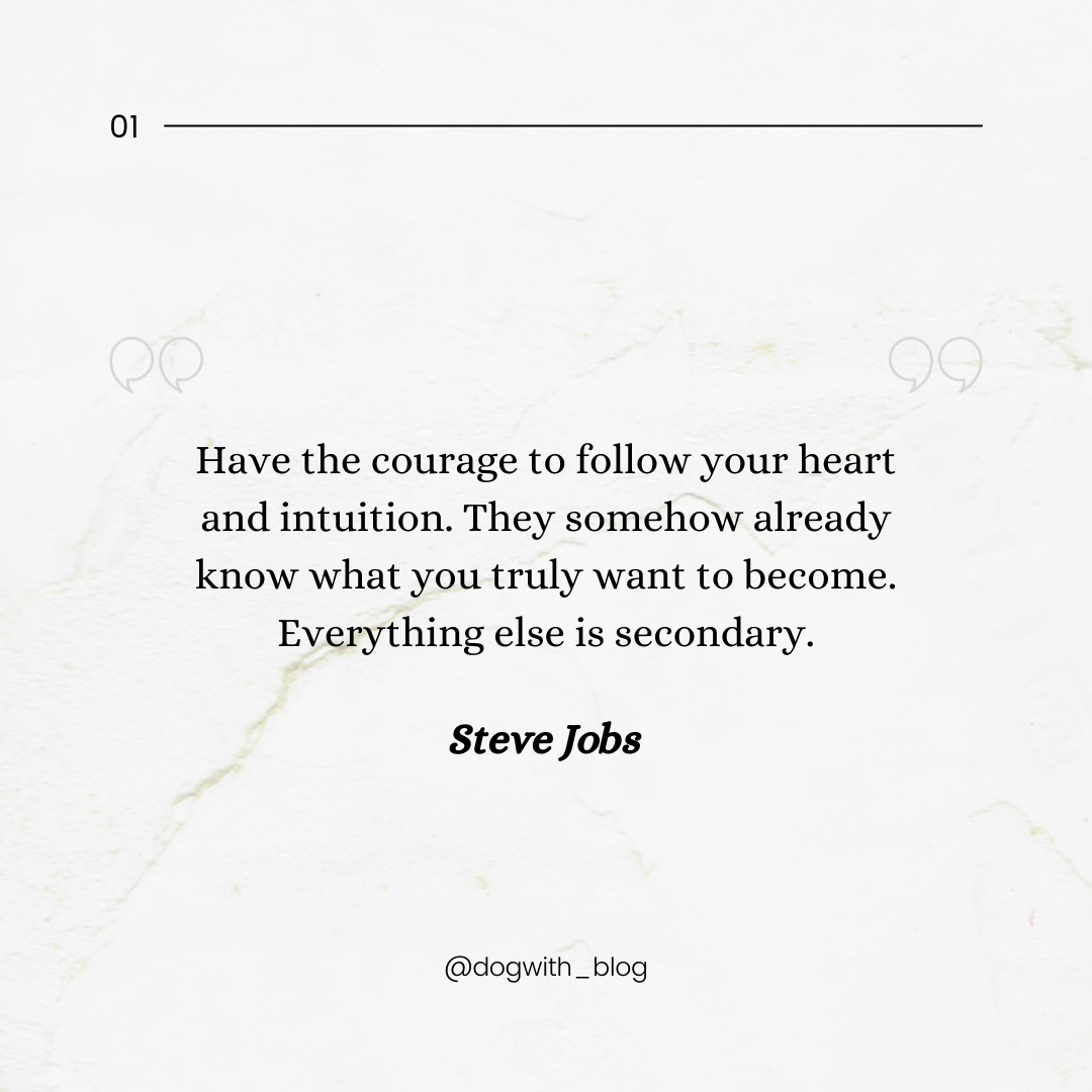 """Have the courage to follow your heart and intuition. They somehow already know what you truly want to become. Everything else is secondary."" – Steve Jobs [1080*1080]"