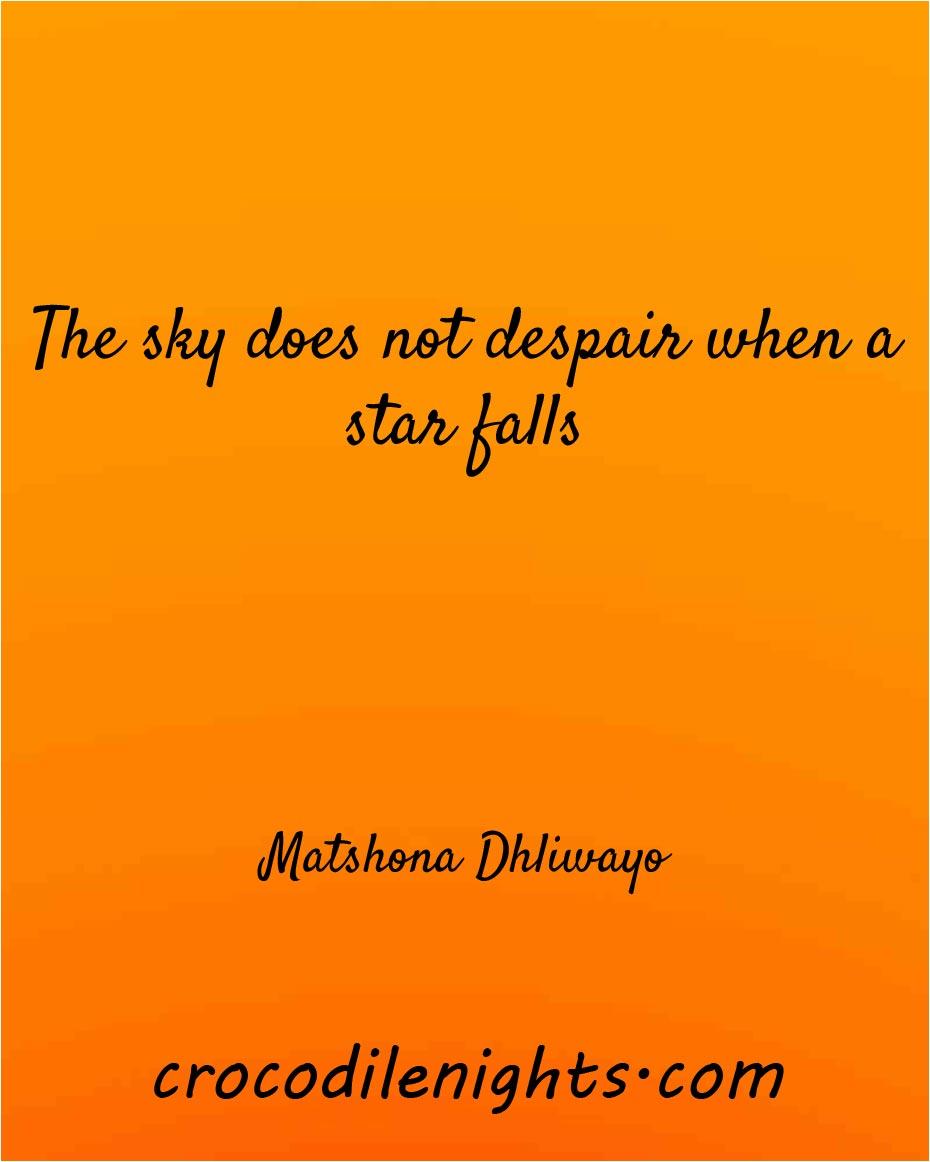 The sky does not despair when a star falls – Matshona Dhliwayo [930 x 1162]