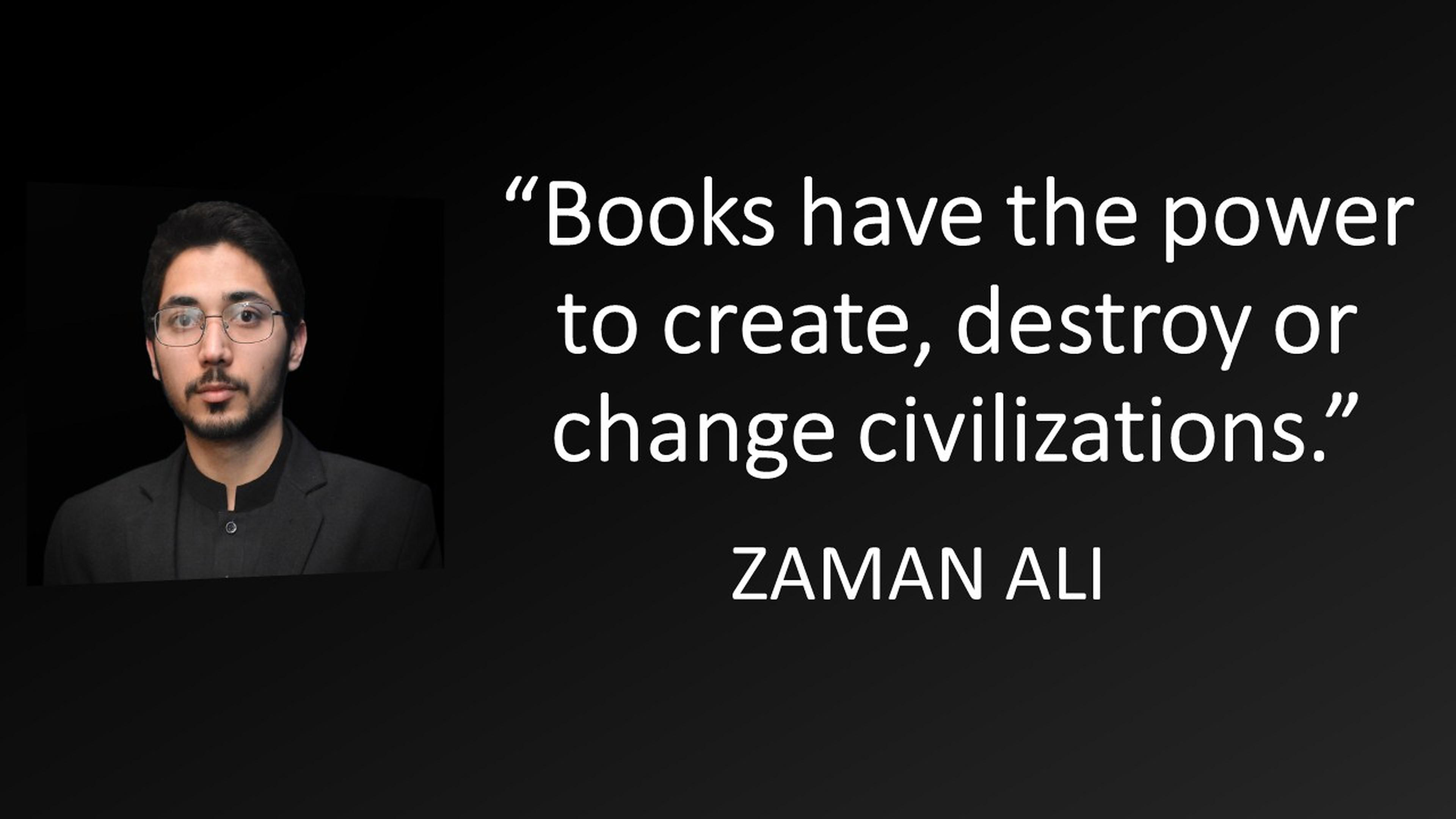 """Books have the power to create, destroy or change civilizations."" ― Zaman Ali [3840×2160]"