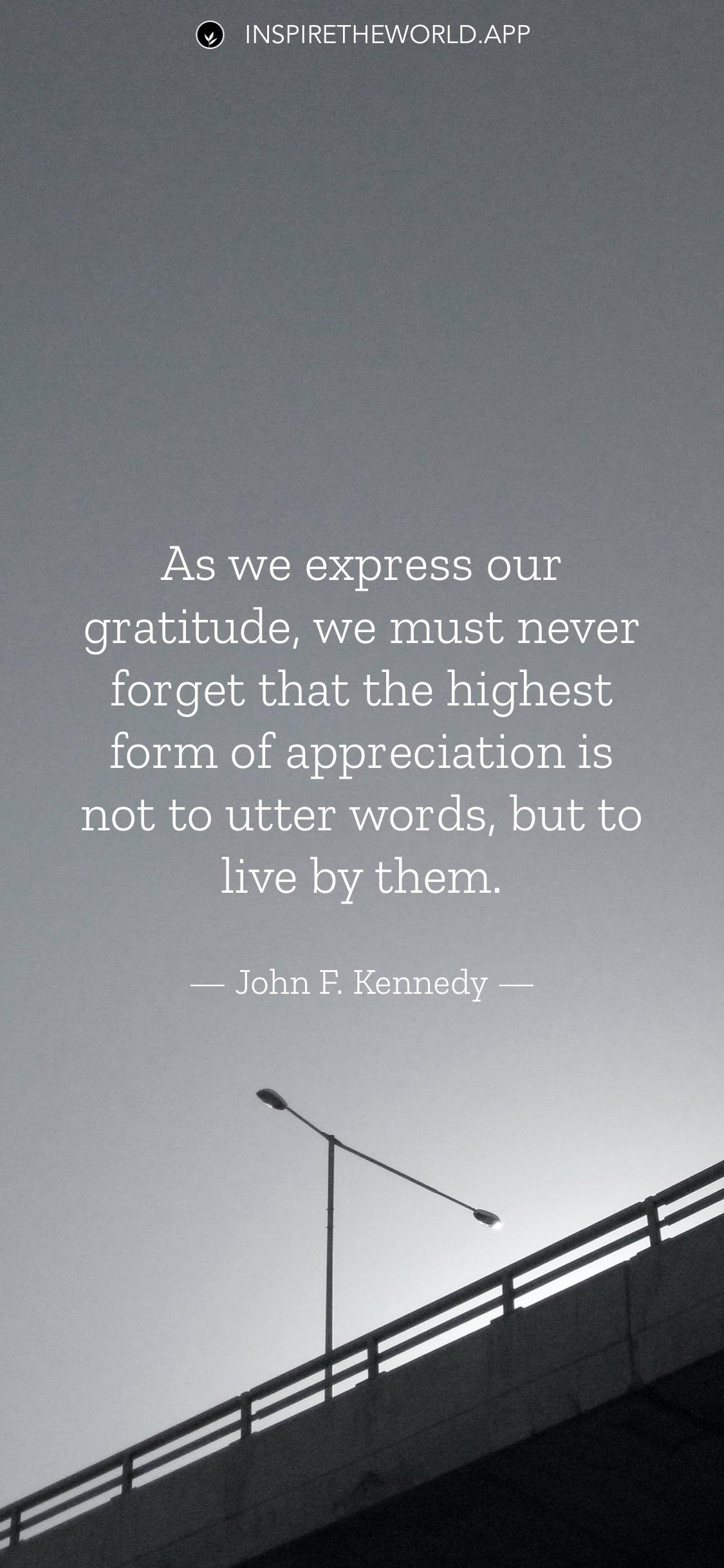 As we express our gratitude, we must never forget that the highest form of appreciation is not to utter words, but to live by them. — John F. Kennedy [1125×2070]