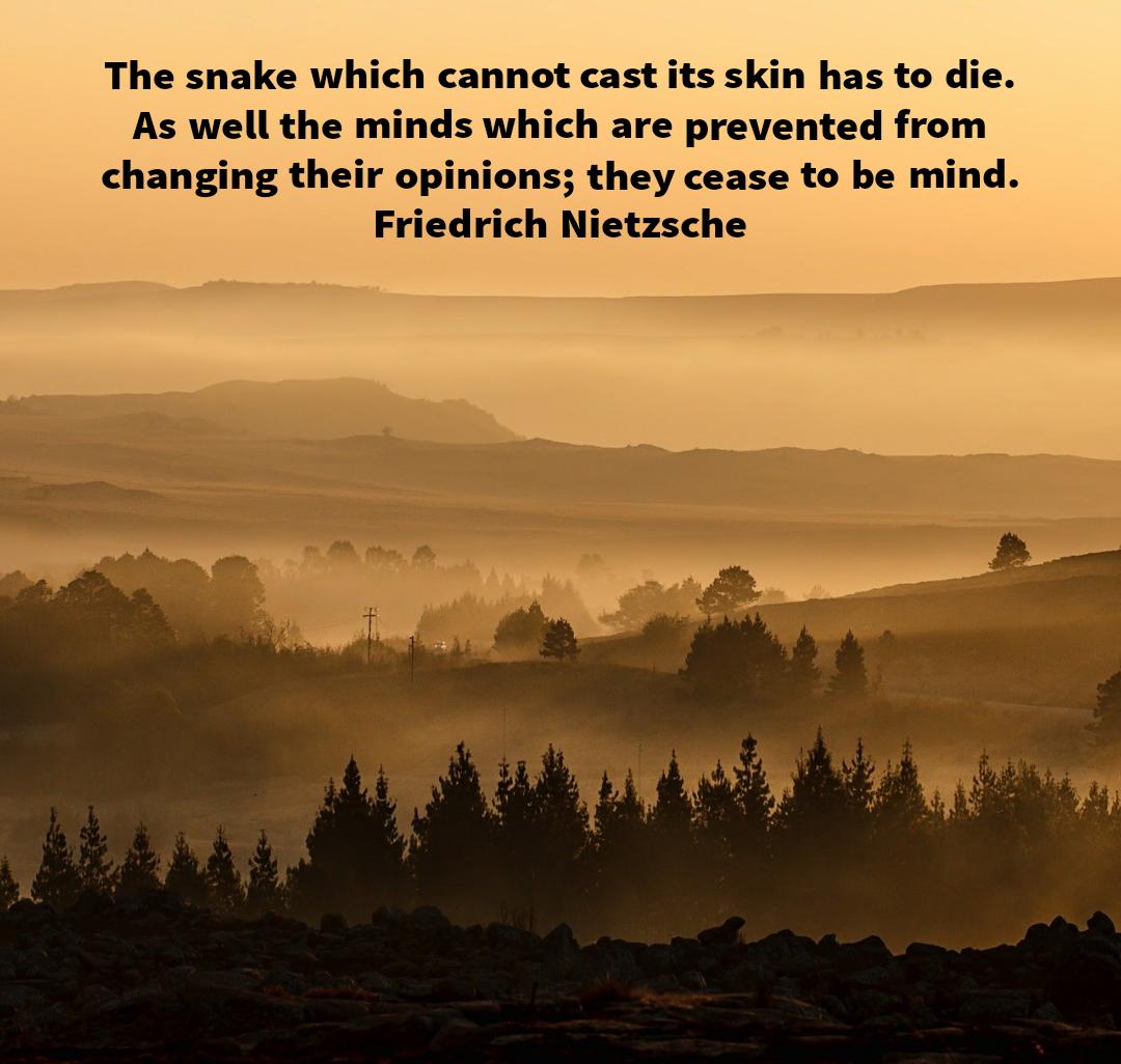 The snake which cannot cast its skin has to die. As well the minds which are prevented from changing their opinions; they cease to be mind. Friedrich Nietzsche[1080×1026]
