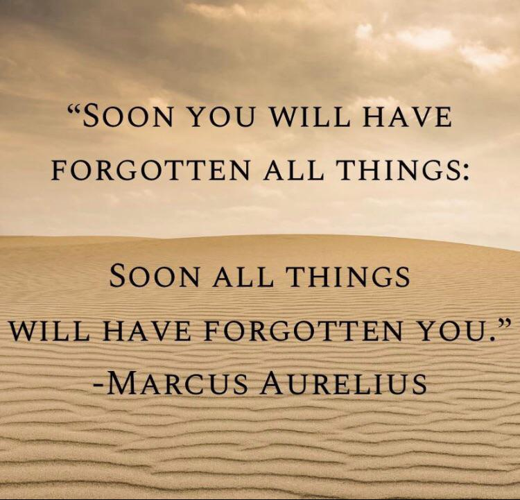 """""""Soon you will have forgotten all things, soon all things will have forgotten you."""" -Marcus Aurelius [750×721]"""