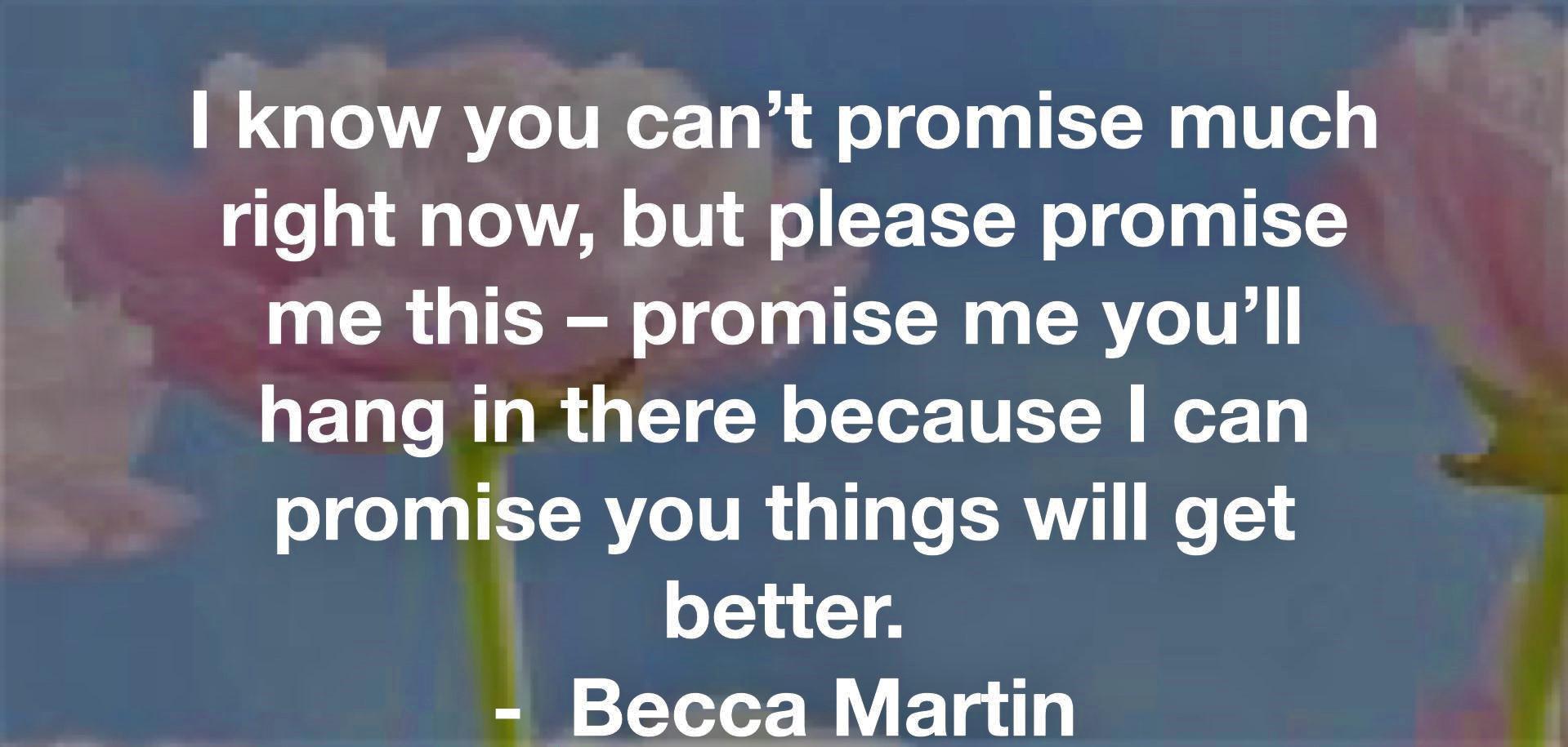 """[Image] """"I know you can't promise much right now, but please promise me this – promise me you'll hang in there because I can promise you things will get better."""" ~ Becca Martin"""