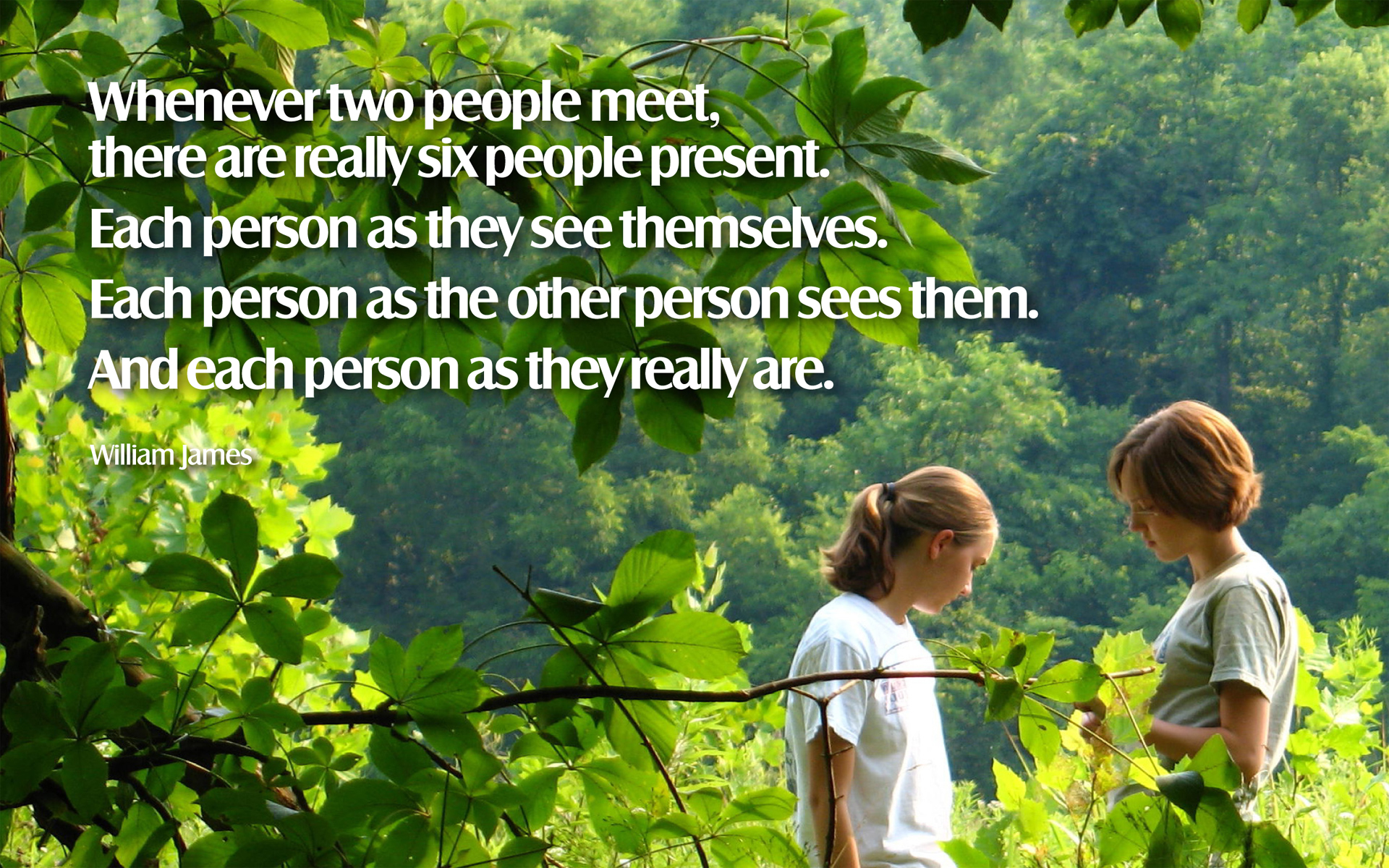 Whenever two people meet, there are really six people present. Each person as they see themselves. Each person as the other person sees them. And each person as they really are. — William James [1920 x 1200]