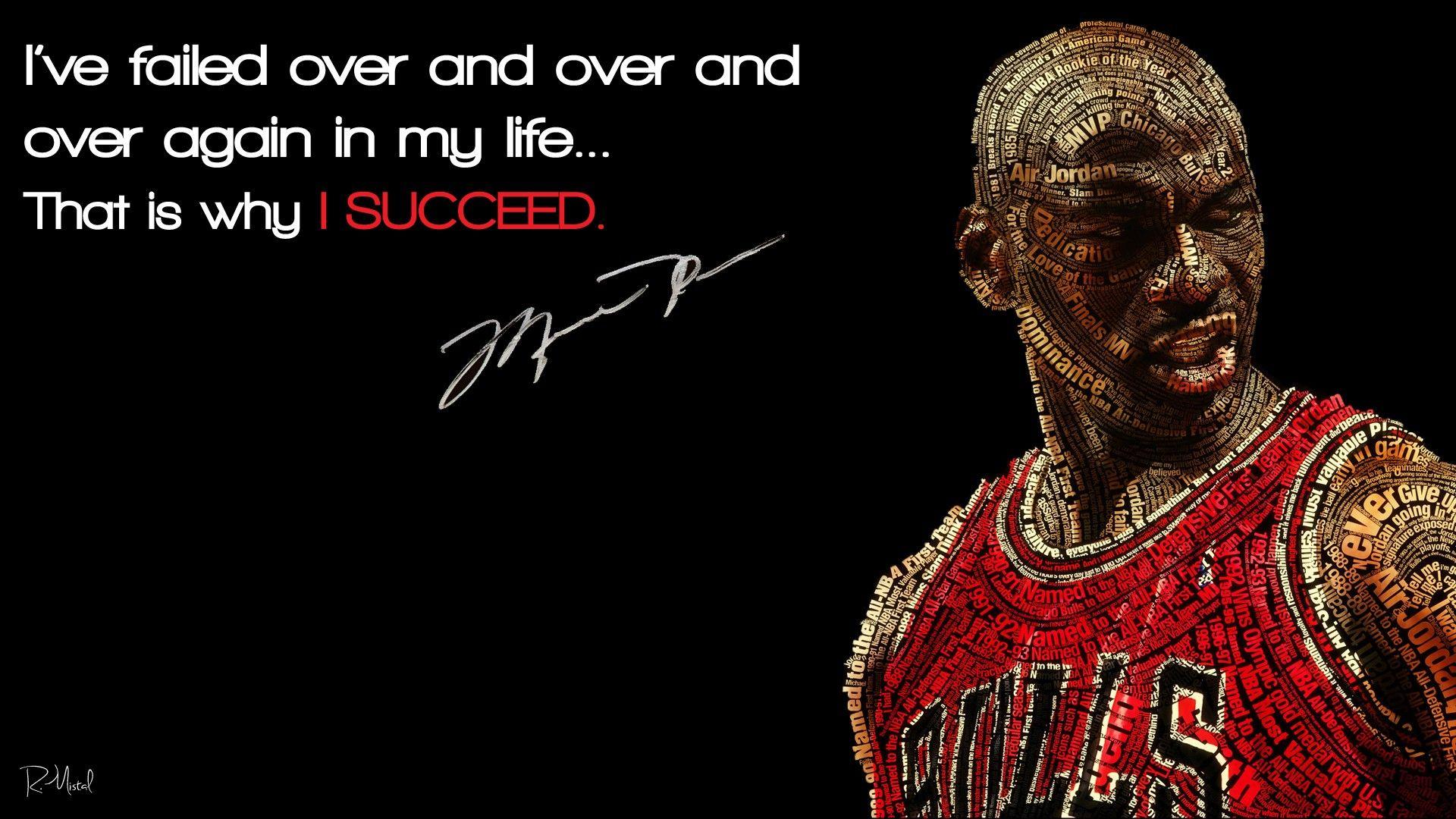 I've failed over and over again – Michael Jordan 1920 x 1080