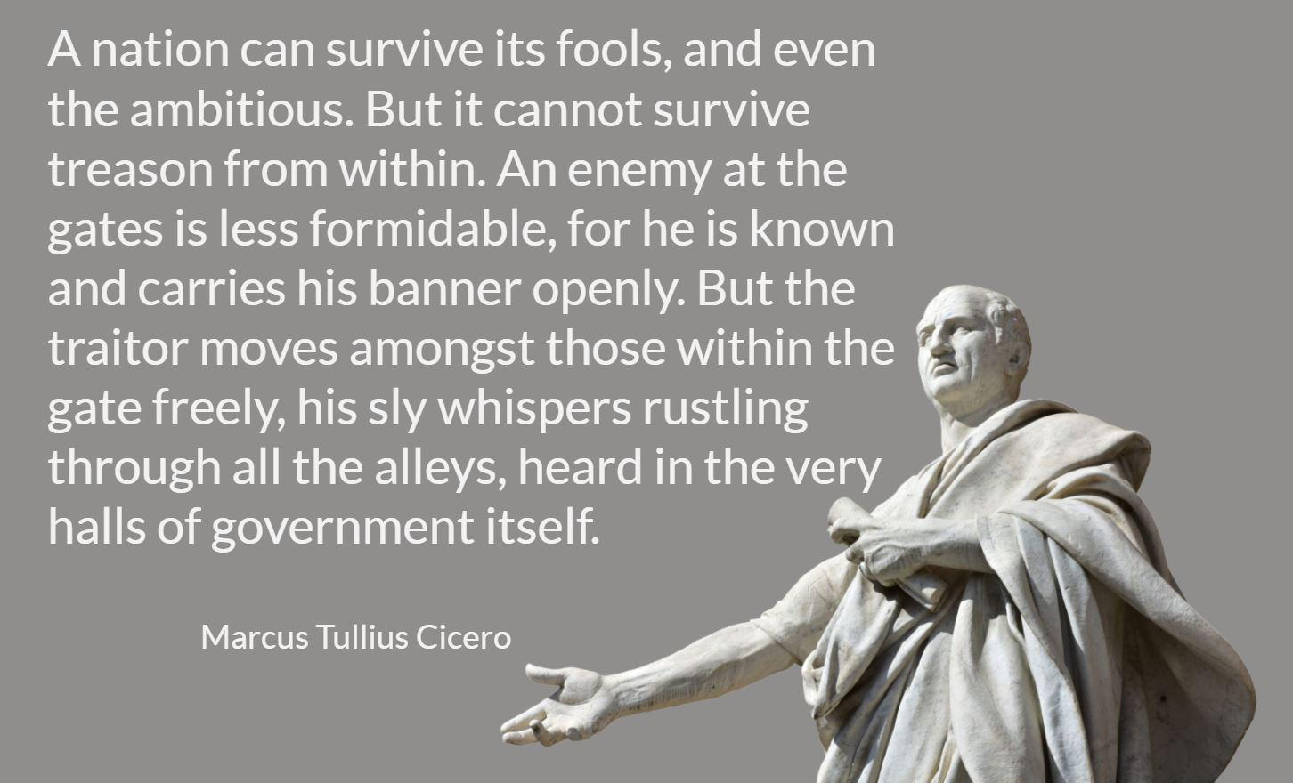 """""""A nation can survive its fools, and even the ambitious. But it cannot survive treason from within. """" Cicero [1452×880]"""
