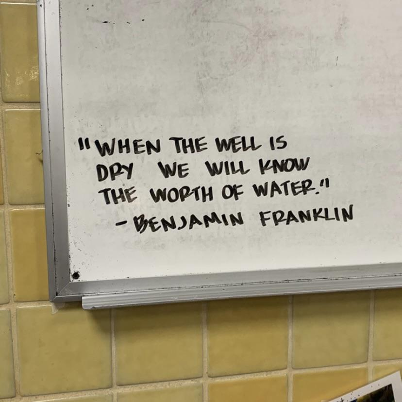 """""""When the well is dry we will know the worth of water."""" -Benjamin Franklin [600×600]"""