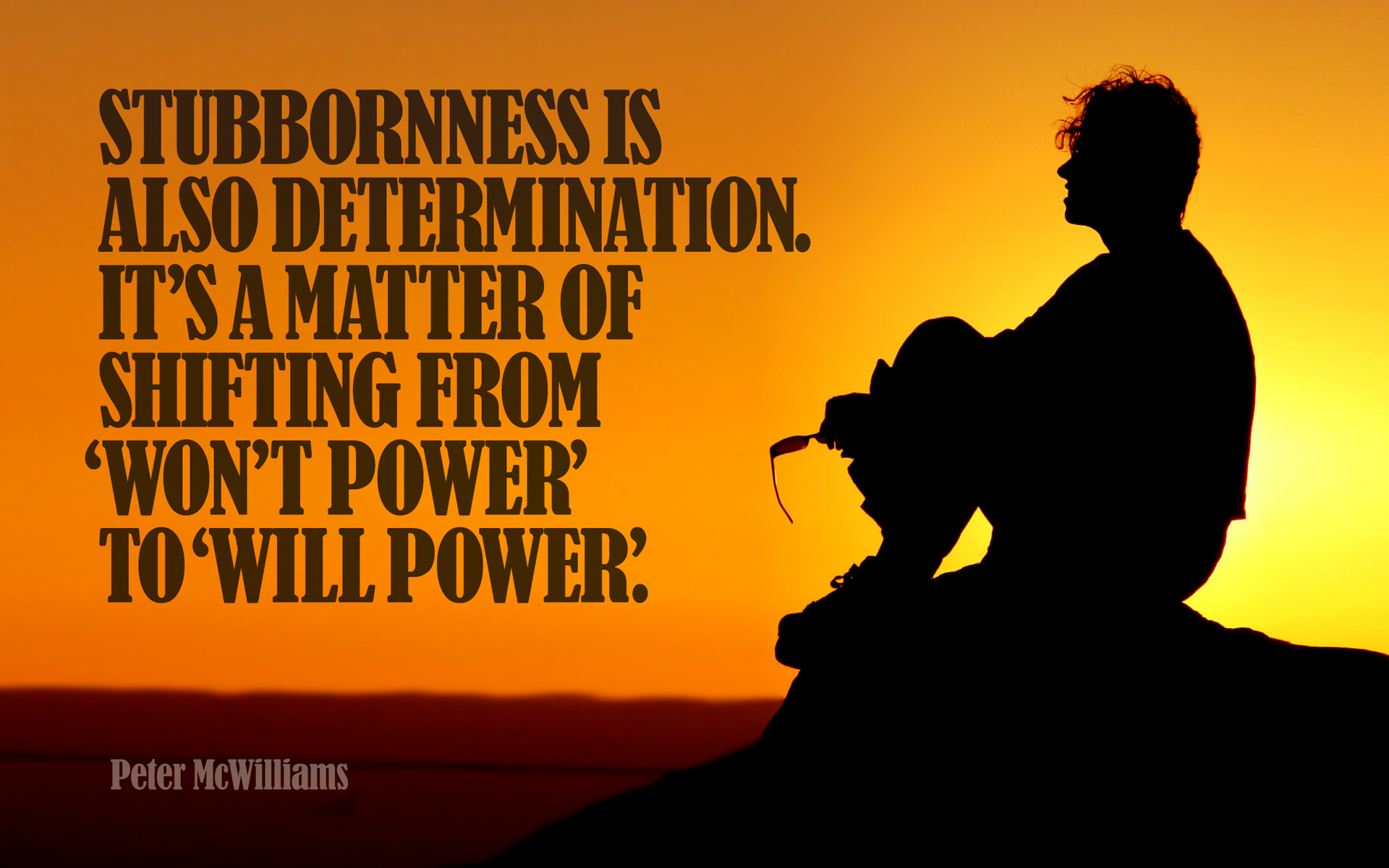 Stubborness is also determination. It's a matter of shifting from 'Won't Power' to 'Will Power'. — Peter McWilliams [1920×1200]