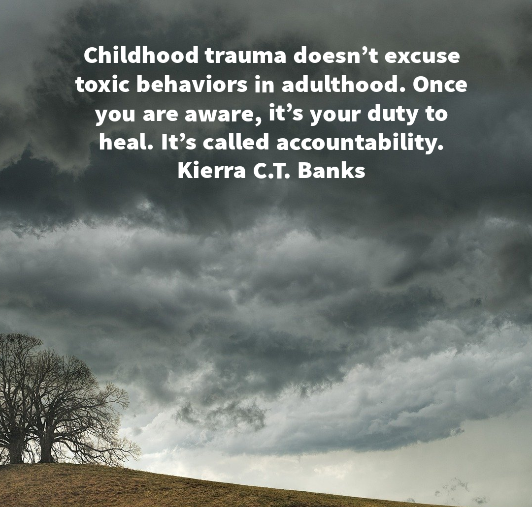 Childhood trauma doesn't excuse toxic behaviors in adulthood. Once you are aware, it's your duty to heal. It's called accountability. Kierra C.T. Banks[1080×1031]