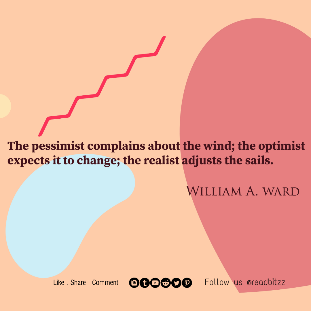 """The pessimist complains about the Wind; the optimist expects it to change; the realist adjusts the sails. WILLIAM A. WARD Like.Share.Comment @0""""°® Fotlow us @reodbitzz https://inspirational.ly"""