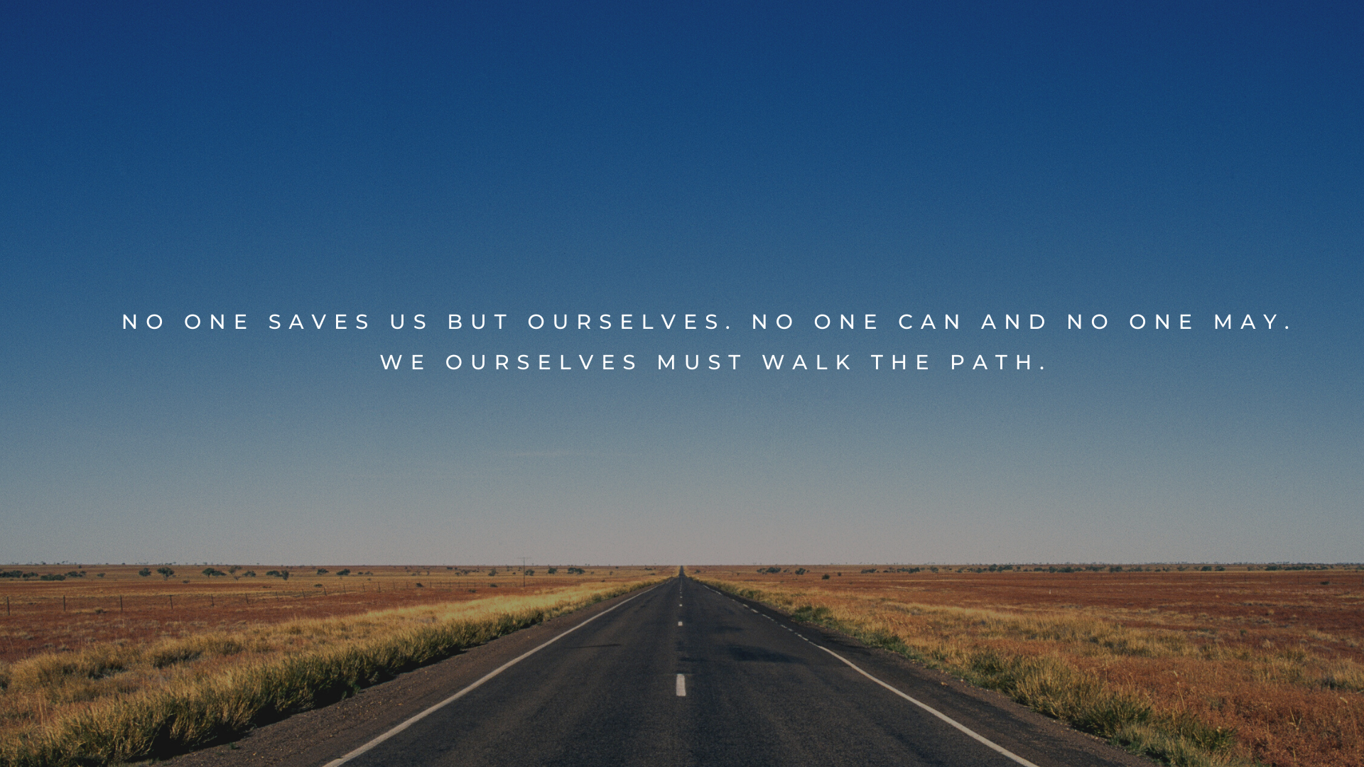 No one saves us but ourselves. no one can and no one may. we ourselves must walk the path. – Buddha [1920×1080]