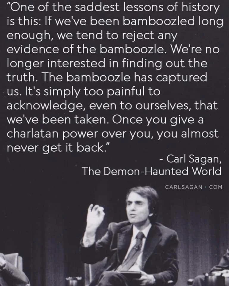 """""""One of the saddest lessons of history is this: If we've been bamboozled long enough, we tend to reject any evidence of the bamboozle. We're no longer interested…"""" – Carl Sagan [770×960]"""